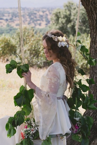 Columpio de flores naturales para ceremonia o photocall
