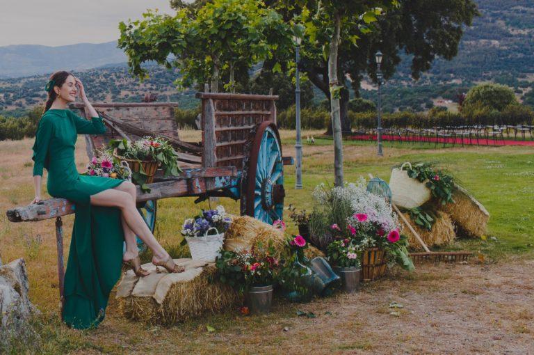 Photocall de carro vintage con flores