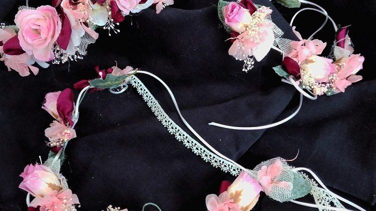 Coronas para niñas de arras rosas rosa