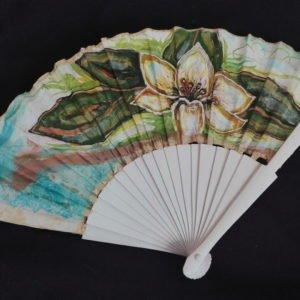 Abanico de seda pintado da mano de lilium